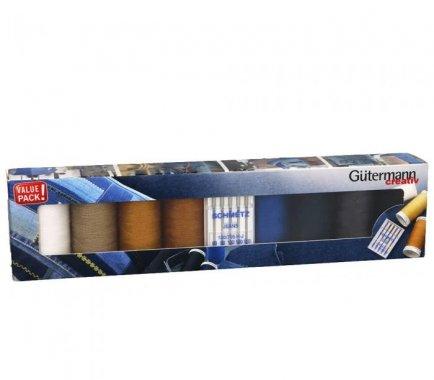 sada silných nití Gütermann 8ks + jehly Jeans