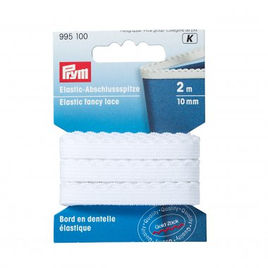 elastická krajka bílá 10mm - 2m