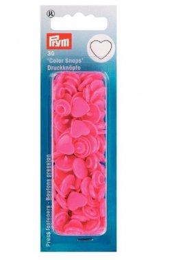 plastové patentky srdce pink 30ks