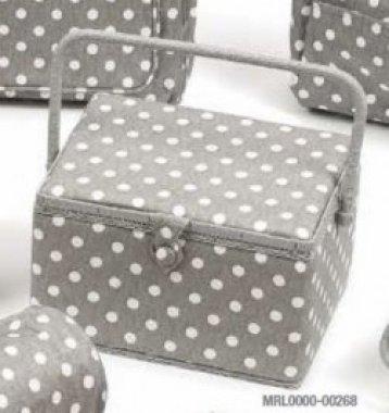 košík na šicí potřeby Grey Linen Polka