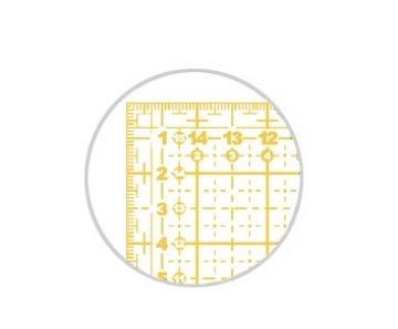 pravítko pro patchwork 16x16cm žlutý potisk